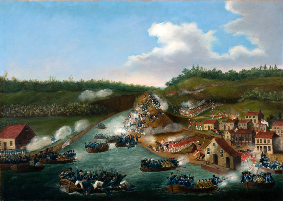 """""""RiverBrink's War of 1812. Queenston."""" Courtesy of the RiverBrink Art Museum, 2013 Britain had limited resources to fight in this war because of the war with France, but"""
