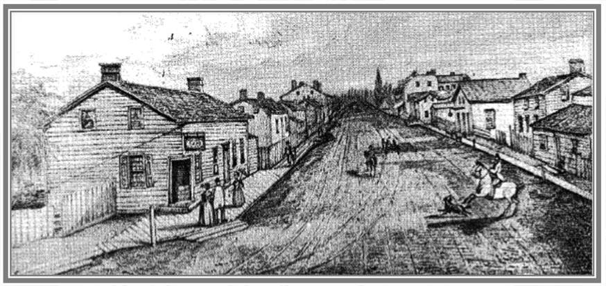 Hallowell as John A. Macdonald would have seen it in 1833. Sketch of Hallowell by John Pepper Downes 1847 Courtesy of the Prince Edward Historical Society